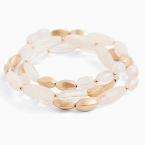 NWT GOLD-TONE & LIGHT PINK STRETCH BRACELET SET
